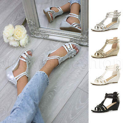 £13.99 • Buy Womens Ladies Low Mid Heel Wedge Strappy Summer Gladiator T-bar Sandals Size