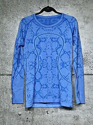 $ CDN75.60 • Buy Lululemon Swiftly Tech Long Sleeve 12 Heathered Pipe Dream Blue Snake Skin Eeuc
