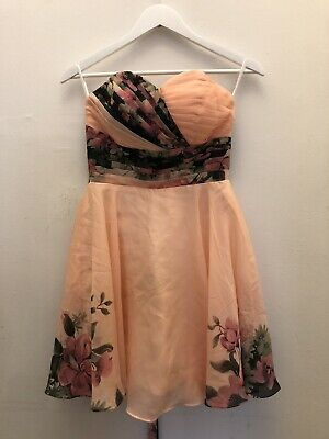 £14.99 • Buy NEW Grace Karin Peach Floral Puffball Prom/Party/Evening Dress Size UK 6 BNWT