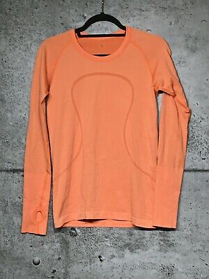 $ CDN61.20 • Buy Lululemon Swiftly Tech Long Sleeve 8 Heathered Pizzaz Orange Stripe Vguc