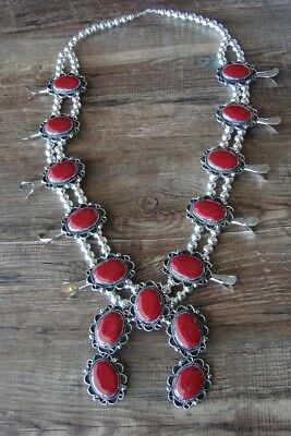 $ CDN449.37 • Buy Navajo Jewelry Coral Squash Blossom Necklace By Jackie Cleveland