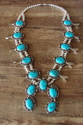 $ CDN449.37 • Buy Navajo Jewelry Turquoise Squash Blossom Necklace By Jackie Cleveland