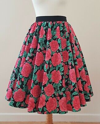 1950s Circle Skirt Darcy Roses - Size 12 - Floral Pink Green Rockabilly Dress • 24.99£