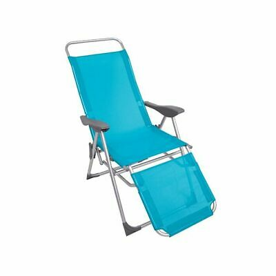 £39.95 • Buy Sun Lounger Recliner Chair 2 In 1 Garden Foldable Steel Blue Outdoor Camping New