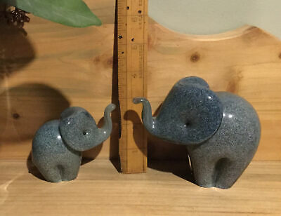 2 X Langham Glass Crystal Hand Made Small & Larger Grey Elephant Figures • 39.90£