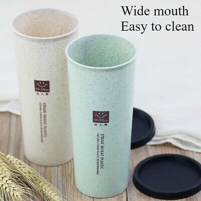 Wheat Straw Drink Cups Two Lids Leakproof Reusable Water Glass With Straw Green • 7.60£