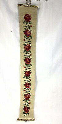 """Vintage Needlepoint Floral Roses Bell Pull 42"""" Long W Brass Ends • 24.37£"""