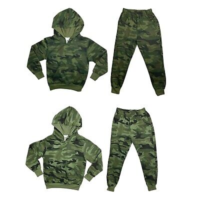 £13.99 • Buy Boys Kids Tracksuit Camouflage Hoodie Joggers Jogging Bottoms Camo Plain Set