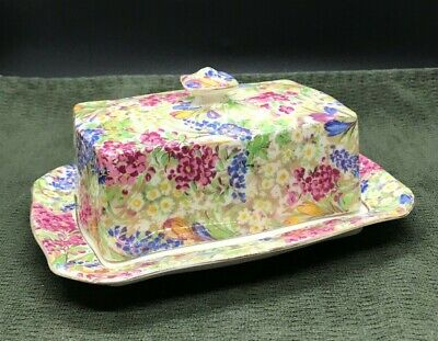 $ CDN61.88 • Buy Vintage Royal Winton Grimwades CROCUS Chintz ASCOT Shape Butter / Cheese Dish