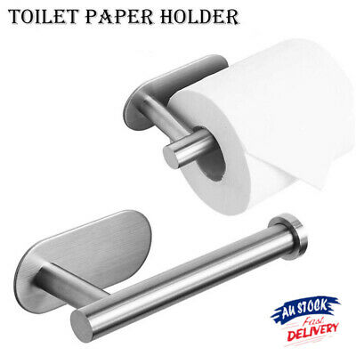 AU14.79 • Buy Stainless Steel Toilet Paper Stand Self Adhesive Stick On Bathroom Tissue Holder