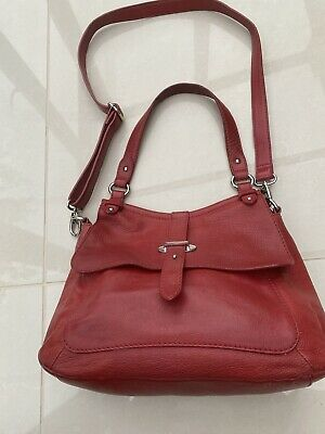 £20 • Buy Red Leather Shoulder Bag By Bailey & Quinn, With Crossbody Strap