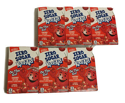 Kool-Aid Zero Sugar CHERRY On The Go Packs Sugar Free Lot Of 6 Boxes 36 Packets • 20.05£
