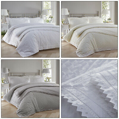 Balmoral Broderie Anglaise Lace Trim Embroidered Quilt Duvet Cover Set Bedding • 38.99£