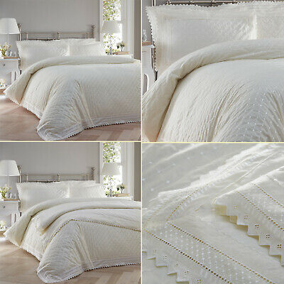 Ecru Cream Broderie Anglaise Lace Trim Embroidered Duvet Quilt Cover Set Bedding • 38.99£