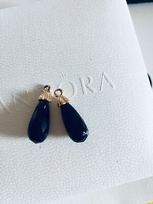 Genuine Pandora 14ct Gold Earrings Black Onyx Drop 250434ON G585 ( NO HOOKS ) • 65£