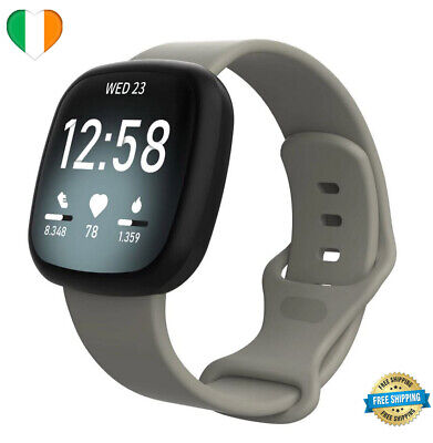 $ CDN9.55 • Buy Strap For Fitbit Versa 3 Sense Replacement Watch Band Silicone SMALL LARGE Grey