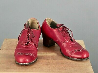 AU102.97 • Buy VTG Women's 40s Red Leather Oxfords Shoes Sz 8 A (Narrow) 1940s 2  Heel