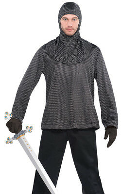 £29.99 • Buy Mens Medieval Brave Knight Fake Armour Chain Mail Fancy Dress Historical Tunic