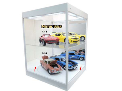 £104.99 • Buy WHITE Large 1:18 Model Display Case With LED Lights & Turntable Mirrored Back