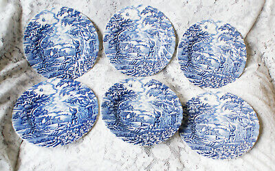 £28 • Buy Six Vintage Blue Hand Engraved Myott The Hunter 8 3/4 Inch Plates Fluted Edge