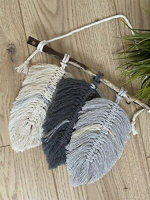£17.95 • Buy MACRAME 3 FEATHERS KIT Starter Kit Project Wall Hanging Kit Top Quality Gift UK