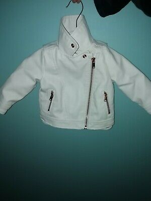 Baby Girls White Leather Jacket 6-9 Months  • 3.50£