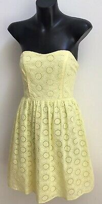 AU28.50 • Buy FOREVER NEW Ladies Sz 10 Strapless Fit & Flare  Dress- Yellow Eyelet Fabric-EUC