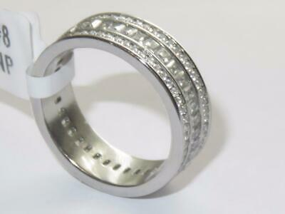Ladies Full Eternity Ring Band Wedding Princess Stainless Steel Cz Silver Sz R • 14.99£