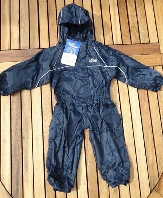 NEW Navy Waterproof All-in-one Splash Puddle Suit Girls Boys 6-12 Months  • 10£