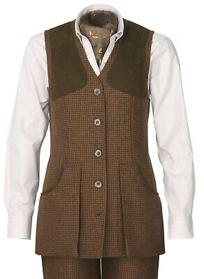Laksen Ladies Limited Edition Silkwood Tweed Shooting Vest Size 14 /L • 165£