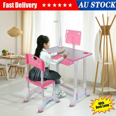 AU83.73 • Buy Kids Study Desk Chair Set Height Adjustable Children Table With Lamp Girl Pink