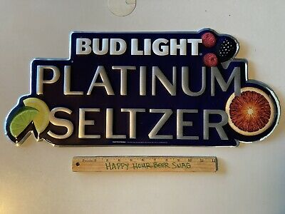 $ CDN37.97 • Buy NEW Bud Light Platinum Seltzer Metal Beer Bar Tin Tacker Sign Man Cave Budweiser