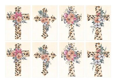 £2.99 • Buy Leopard Floral Cross Card Toppers Card Making Religious Holy Communion Baptism