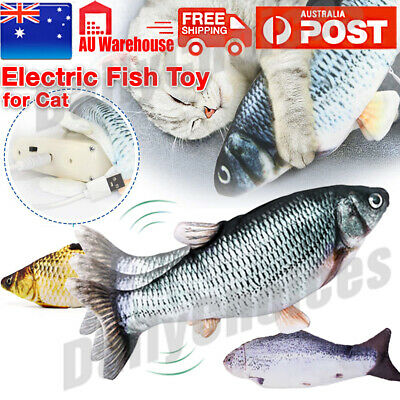 AU11.95 • Buy USB Electric Interactive Pet Cat Kitty Toy Wagging Fish Realistic Plush Fun Toys