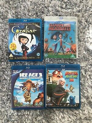 Blu Ray-3d X Bundle- 4 X Films Coraline-ice Age 3-monster-aliens- Cloudy  • 9.95£