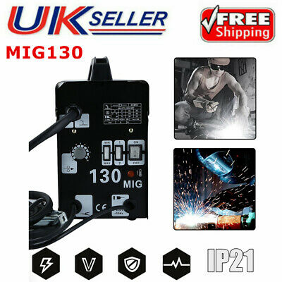 MIG-130 Gasless Welding Machine Flux Core Wire Welders Auto Feed Welder Kit UK • 93.62£