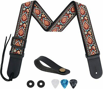 $ CDN31.63 • Buy Tifanso Guitar Strap Jacquard Weave Guitar Strap With Genuine Leather Ends