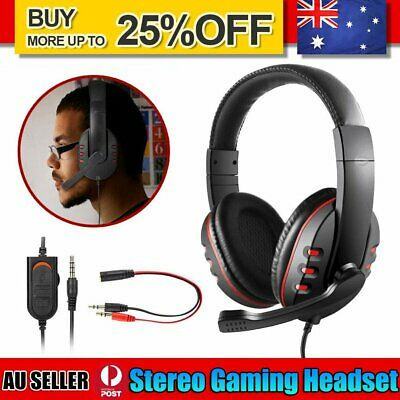 AU18.89 • Buy Durable Stereo Gaming Headset Headphone Wired With Mic For PC Xbox One PS4