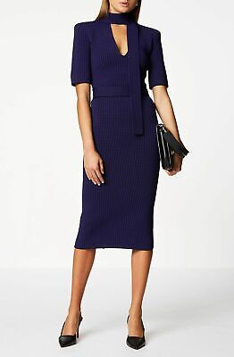 AU300 • Buy Scanlan Theodore Crepe Knit Plaid Tie Dress - Purple Size XS