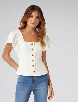 AU25 • Buy BNWOT Forever New Cream Linen Top - Size 8
