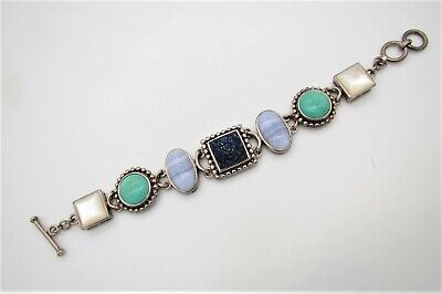 $ CDN59.48 • Buy Whitney Kelly WK Sterling Bracelet W/Carved Lapis, Turquoise, MOP & Agate