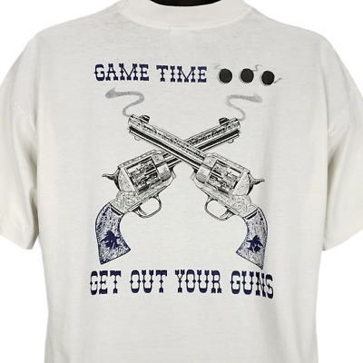 $ CDN61.67 • Buy Outlaws T Shirt Vintage 90s 1996 1997 Game Time Get Out Your Guns 50/50 Size XL