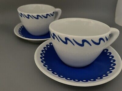 New Giannini Blue White Set Of 2  Cappuccino Cups W/ Blue Saucers & Illy Sugar! • 17.80£