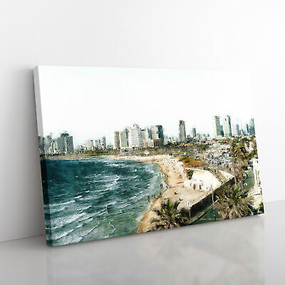 £22.95 • Buy Tel Aviv Israel Skyline Painting Wall Art Canvas Print Large Home Decor Picture