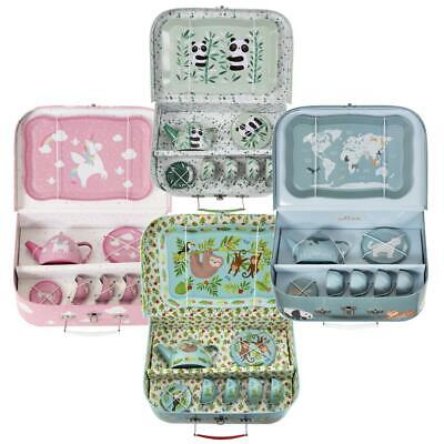 £23.95 • Buy Childrens Tea Party Picnic Suitcase   Pretend Play Metal Cups Saucers Teapot