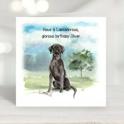 Personalised Birthday Card - Labrador - Custom Designed With Name And Or Message • 2.50£