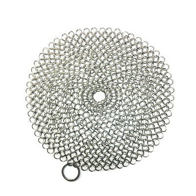 Stainless Steel Chainmail Scrubber Cast Iron Skillet Cleaner Kitchen Tool JA • 9.69£