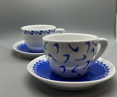 New Giannini Brand Blue Mix Pattern Set Of 2  Cappuccino Cups & Illy Sugar! • 17.80£