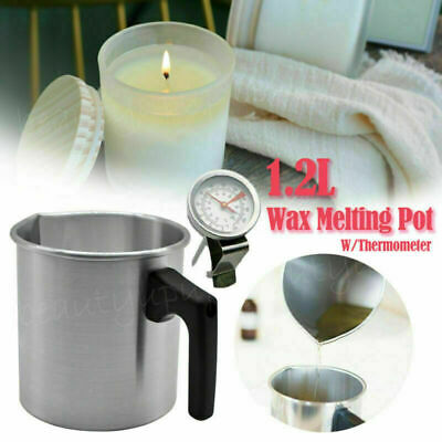 1.2L Wax Melting Pot Pouring Pitcher Jug Aluminium Candle Soap Make Thermometer • 11.59£