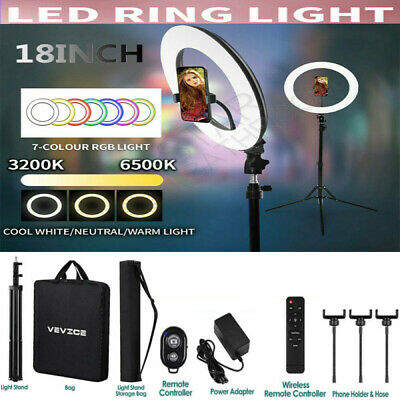 AU47.59 • Buy 18  VEVICE LED Dimmable Ring Light Tripod Stand Phone Holder Youtube Live Lamp